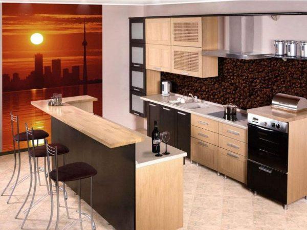 comptoir de bar à deux niveaux pour la cuisine
