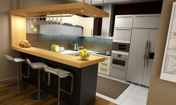 comptoir de cuisine avec crochets