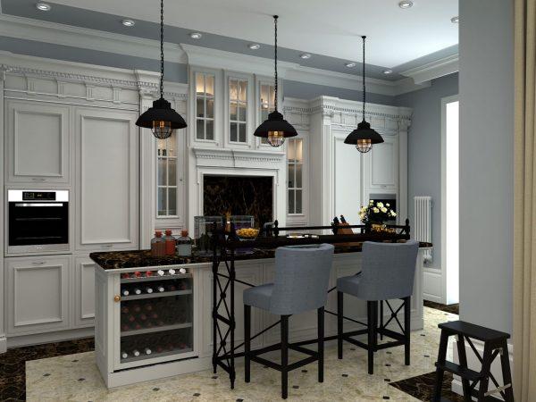 Comptoir de bar classique dans la cuisine