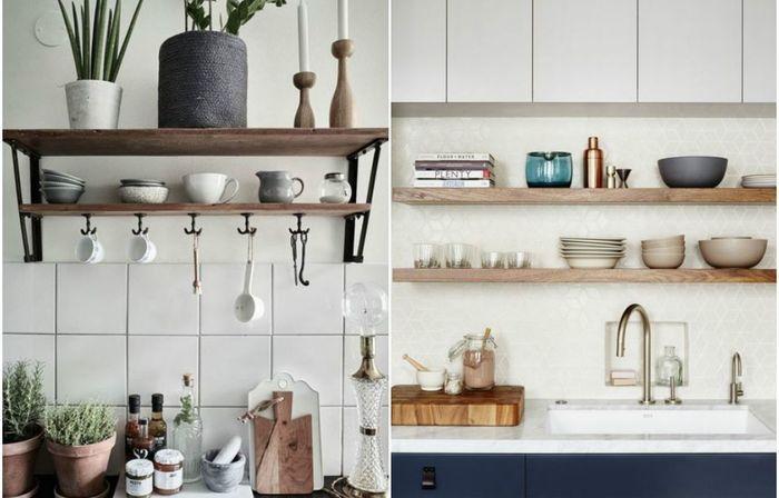 Conception d'étagères ouvertes dans la cuisine.