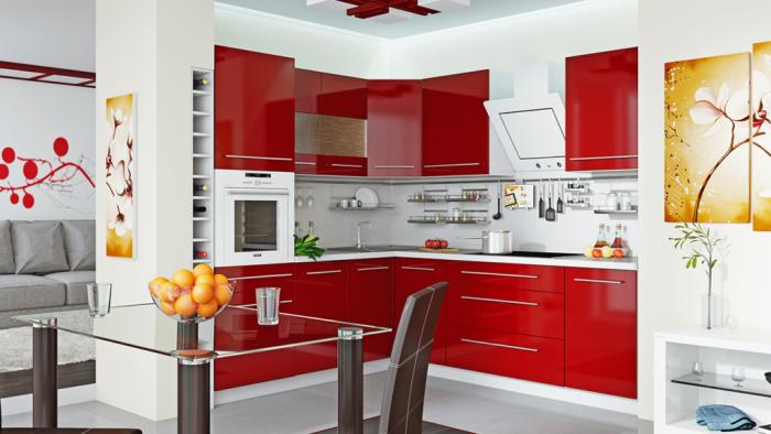 Set de cuisine brillant rouge.