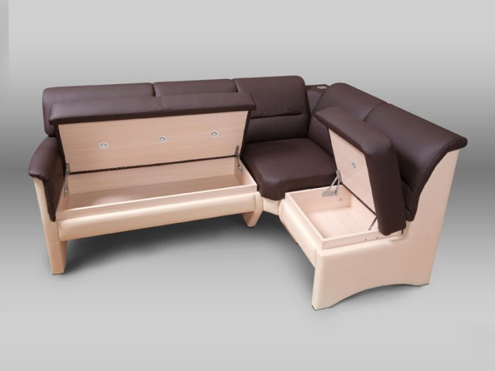 Sofa with drawers.