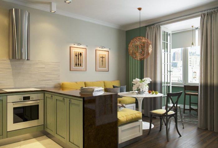 Virtuves-dzīvojamās istabas dizains.