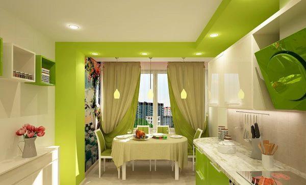 Ideja apvienot virtuvi ar dzīvojamo istabu