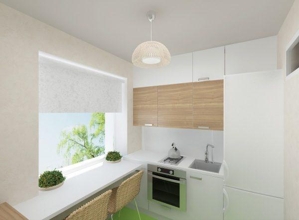 Gaiša maza virtuve izskatās lielāka un ērtāka