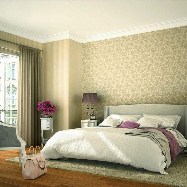 Le papier peint non tissé pour la chambre à coucher peut être attribué à l'une des options de design les plus chères en 2019.