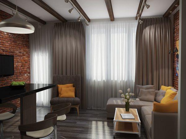 Les rideaux bruns peuvent mettre à jour la pièce, ajouter de l'exotisme et de la retenue.