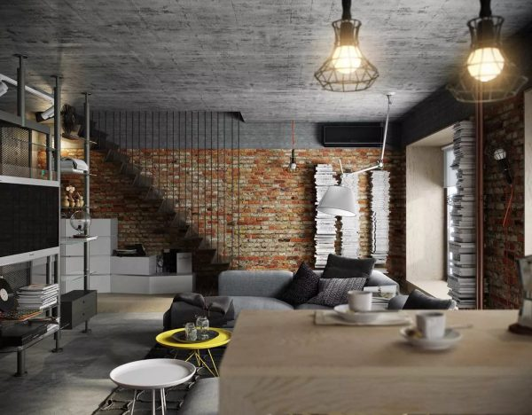 La principale différence entre le loft industriel est la présence d'un grand nombre de câbles, non masqués, mais situés autour du périmètre de la pièce.