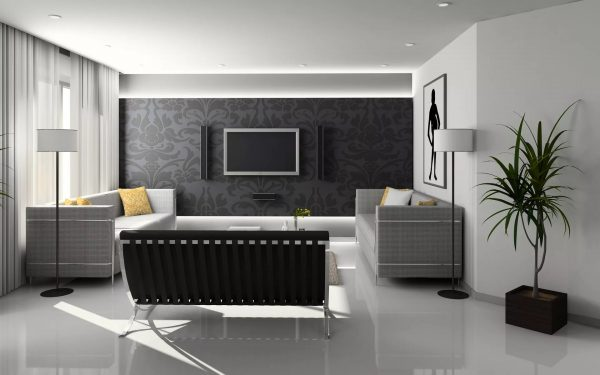 Neoclassical style wallpapers look stylish and decorate the living room