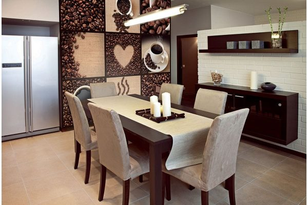 The thematic pattern of coffee and cups is one of the most trending - it harmoniously fits into the design, and if you combine it with other colors of coatings - the room will look very stylish.