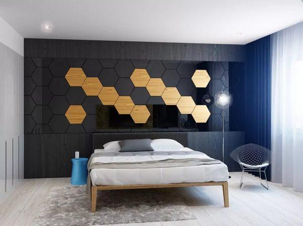 Le dynamisme de la pièce peut s'ajouter à la géométrie des murs: nid d'abeilles, vagues, zigzags, carrés.