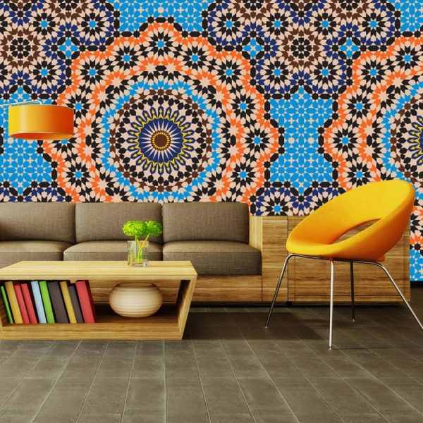 The Indian style is characterized by vinyl textured canvas with thematic ornaments, as well as walls that mimic expensive fabrics.