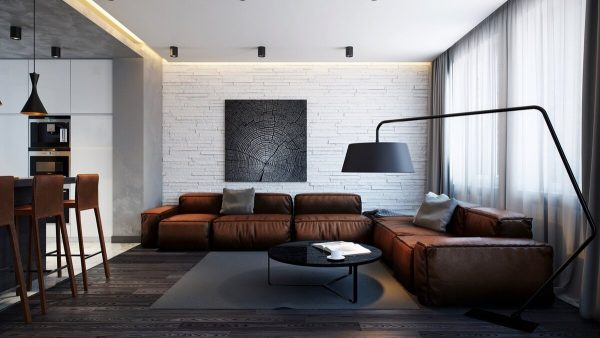 Walls can be decorated with wallpapers depicting brick blocks, wood, plaster.