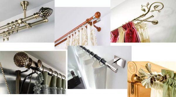 Diverses fixations pour rideaux. Si vous avez besoin de masquer les points de montage des rideaux, choisissez une robinetterie cachée.