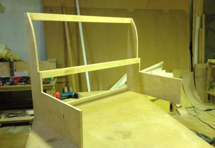 Assembling a kitchen sofa.