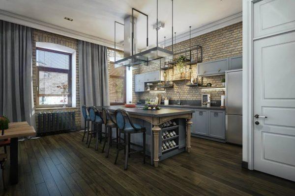 Rideaux gris à l'intérieur de la cuisine dans le style Loft