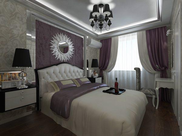 Les formes douces et les beaux plis auront fière allure dans la chambre à coucher. Les rideaux doivent être en soie ou en satin et tomber au sol. Dans cette idée, une combinaison de différentes textures et une abondance de couleurs est appropriée.