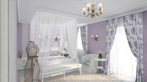 un voile de coton blanc comme neige avec l'image de la lavande est capable de donner de la chaleur à la chambre et de l'emplir de l'arôme de fleurs.