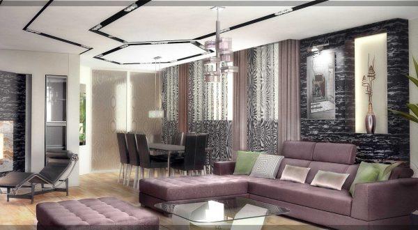 Pour une telle direction, l'essentiel est la praticité et le calme. Les matériaux de rideaux de haute technologie les plus populaires seront les forts tissus de crin et de fil métallique.