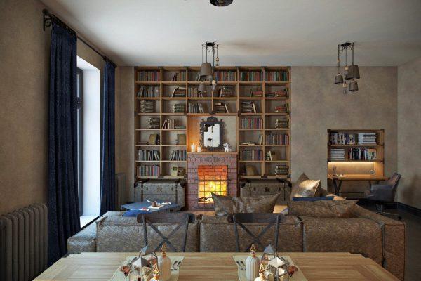 Au tout début du style, une cheminée était utilisée pour chauffer une grande pièce. Aujourd'hui, il joue plutôt un rôle exclusivement décoratif.