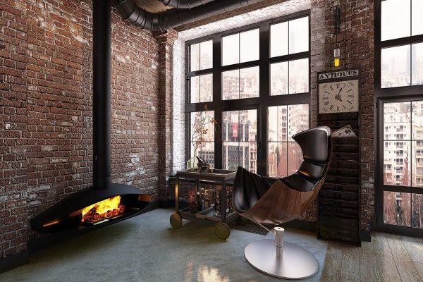 Appartement de style loft dans les tons marron
