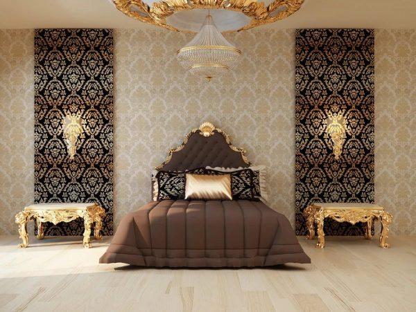 Les papiers peints textiles sont l'option la plus chère pour la conception d'une chambre à coucher en 2019.