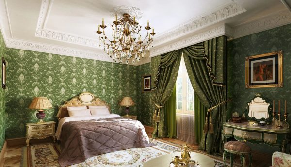 La chambre de style classique a l'air calme, élégante, harmonieuse et spacieuse.