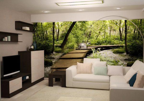 A 3D háttérképet a lehető legvigyázatosabbnak kell lennie. De ha a nappali nem túl kicsi, akkor a falfestményeket csak az egyik falra ragaszthatja.