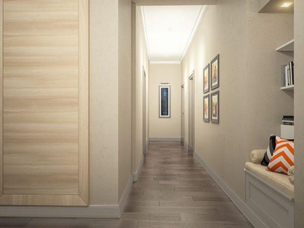Priekšnamā ar gaišām durvīm perfekti ir pasteļtoņu tapetes