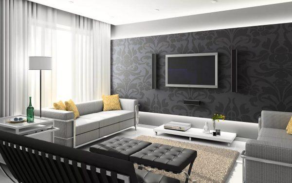 Tapetai salėje minimalizmo stiliaus