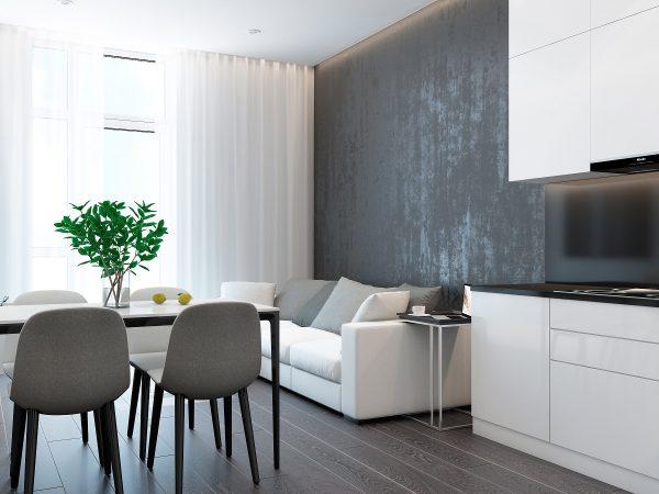 La conception pratique permet d'utiliser n'importe quel matériau, des couleurs neutres, des rideaux brillants gâcheront le style de l'intérieur.