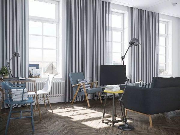 Scandinave. Conception populaire en 2019, les rideaux dans le style du minimalisme ou de loft sont appropriés.