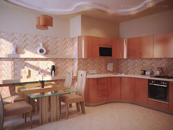 Une cuisine aux tons de pêche a toujours un aspect esthétique, il est agréable de cuisiner et de manger des aliments.