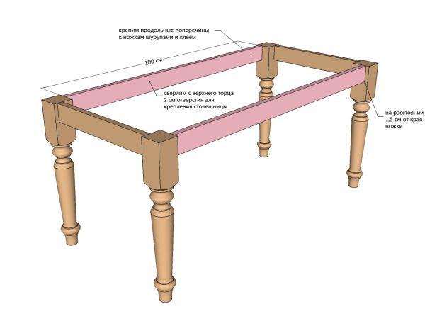 Une table et des chaises sont fabriquées séparément.