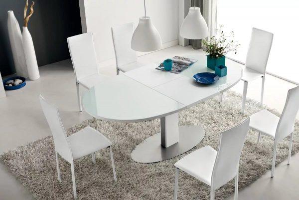 Ces types de mobilier de salle à manger sont pratiques à utiliser avec l'arrivée des invités - en plus d'un festin dans le salon, 3 à 6 personnes peuvent participer.