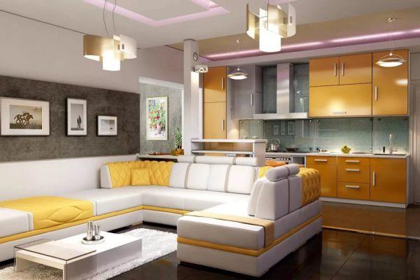 La combinaison de la cuisine et du salon est une technique de conception populaire qui permet d'accroître l'espace dû à la démolition du mur entre les deux pièces et de créer un studio d'intérieur à la mode.
