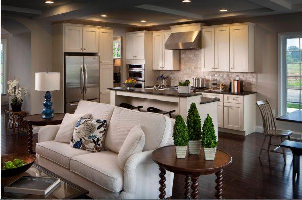 Parmi les idées de zonage, la cuisine et le salon se distinguent par des décors et des accessoires originaux.
