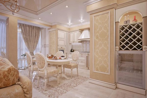 Dans les classiques, la décoration décorative du plafond, de beaux accessoires, une abondance de textiles, des meubles avec cadres, des sculptures et des décorations sont acceptables.