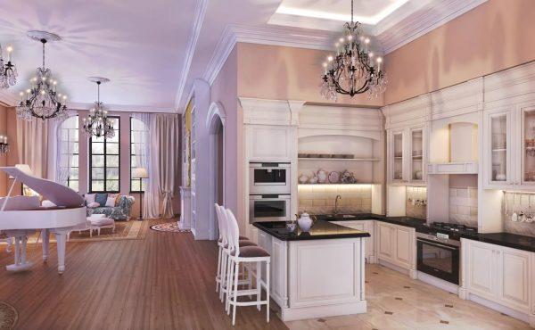 Afin de créer une zone visuelle supplémentaire, il est recommandé de choisir un revêtement de sol différent pour la cuisine et le salon.