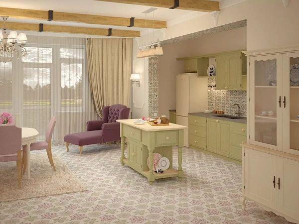 Afin de combiner la Provence avec l'esthétique du néoclassicisme, il est recommandé de sélectionner des tons pour la décoration dans le même schéma de couleurs.