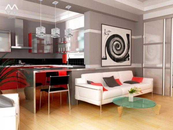 Pour séparer la cuisine du salon, vous pouvez utiliser des meubles, des cloisons, des comptoirs de bar et même des accessoires.